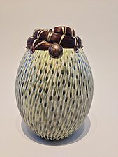 Horse Hair Vessel with Indian Head Dime by Valerie Seaberg (Ceramic Vessel)