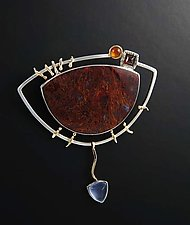 Autumnal Brooch with Gemstones by Jan Van Diver (Gold, Silver & Stone Brooch)