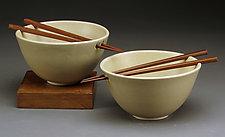 White Rice Bowls with Chopsticks by Daniel  Bennett (Ceramic Bowls)