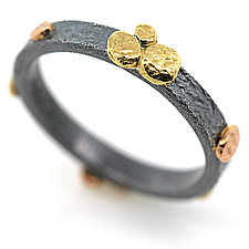 3mm Ring with River Pebbles Groupings by Rona Fisher (Gold & Silver Ring)