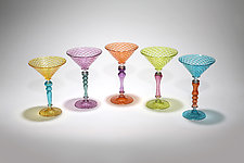 Multicolor Martini Glass II by Michael  Hermann and Gina Lunn (Art Glass Drinkware)