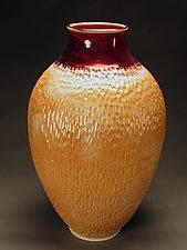 Immense Red and Mottle Orange Notched Vase by Daniel  Bennett (Ceramic Vase)