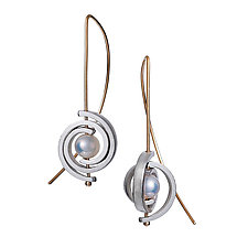 Inspiro Medium Spiral Earrings with White Pearl by Martha Seely (Gold, Silver & Pearl Earrings)