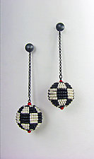 Black and White Mod Earrings by Julie Long Gallegos (Beaded Earrings)