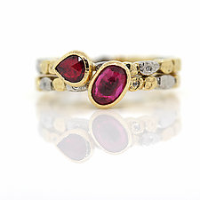 Skinny Pebbles Double Ruby Ring Set by Rona Fisher (Gold & Stone Ring)