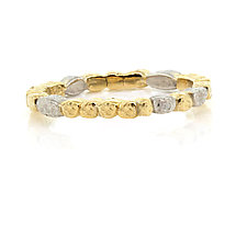 Skinny Pebbles Band in 18k and Palladium by Rona Fisher (Gold & Stone Ring)