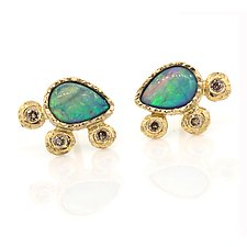 Opal Pear Earrings by Rona Fisher (Gold & Stone Earrings)