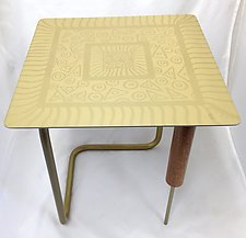 Golden Abstract End Table by Evy Rogers (Wood Side Table)