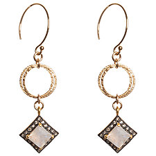 Natasha Black Diamond and Moonstone Earings by Tracy Arrington (Gold, Silver & Stone Earrings)