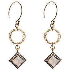 Natasha Black Diamond and Moonstone Earings by Tracy Arrington (Gold, Silver & Stone Earrings)