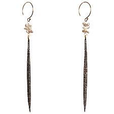 Natasha Diamond Dagger & Japanese Keshi Pearl Earrings by Tracy Arrington (Gold, Silver & Stone Earrings)