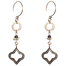 Natasha Black Diamond Quatrefoil & Japanese Keshi Pearl Earrings by Tracy Arrington (Gold, Silver & Stone Earrings)