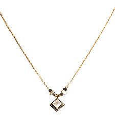 Natasha Black Diamond, Japanese Keshi Pearl and Moonstone Necklace by Tracy Arrington (Gold, Silver & Stone Necklace)