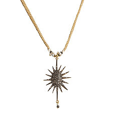 Natasha Black Diamond Starburst Statement Necklace by Tracy Arrington (Gold, Silver & Stone Necklace)