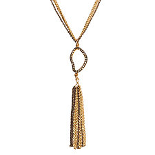 Natasha Black Diamond Tassel Necklace by Tracy Arrington (Gold, Silver & Stone Necklace)