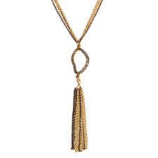 Natasha Black Diamond Tassel Necklace by Tracy Arrington (Gold, Silver & Stone Necklace)