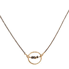 Natasha Gold Circle & Black Diamond Necklace by Tracy Arrington (Gold, Silver & Stone Necklace)