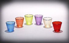 Multicolored Faceted Rocks Glass with Black Rim I by Michael  Hermann and Gina Lunn (Art Glass Tumblers)