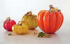 Fall Pumpkins by Treg  Silkwood (Art Glass Sculpture)