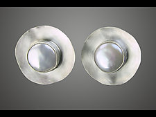 Pearl Saucers Cuff Links by Julie Long Gallegos (Silver & Pearl Cuff Links)