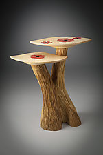 Two-Level Table with Poppy Inlay by Aaron Laux (Wood Side Table)