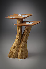 Two-Level Table with White Flower Inlay by Aaron Laux (Wood Side Table)
