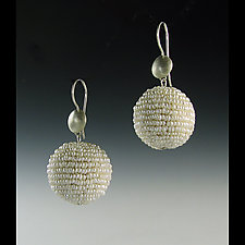 Pearl Bauble Seed Pearl and Silver Earrings by Julie Long Gallegos (Beaded Earrings)