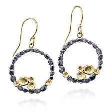 Circle of Pebbles Earrings in Oxidized Silver and 18k Gold by Rona Fisher (Gold & Silver Earrings)