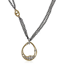 Small Water Drop Pendant by Rona Fisher (Gold, Palladium & Stone Necklace)