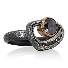 Open Pebble Ring with Round Black Diamond in Silver and Rose Gold by Rona Fisher (Gold, Silver & Stone Ring)