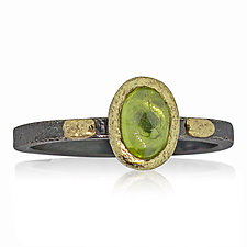Textured Pebbles Oval Peridot Ring by Rona Fisher (Gold, Silver & Stone Ring)