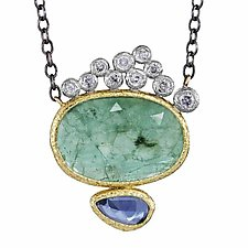 Emerald and Sapphire Pendant by Rona Fisher (Gold & Stone Necklace)