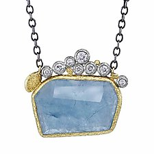 Geometric Aquamarine Pendant by Rona Fisher (Gold, Silver & Stone Necklace)