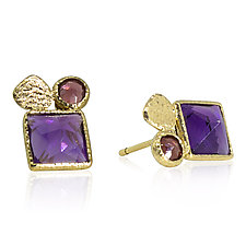 Amethyst and Garnet Stud Earrings by Rona Fisher (Gold & Stone Earrings)
