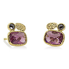 Cushion-Cut Rhodolite and Black Diamond Stud Earrings by Rona Fisher (Gold & Stone Earrings)