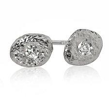 Single Palladium Pebble and Diamond Stud Earrings by Rona Fisher (Palladium & Stone Earrings)