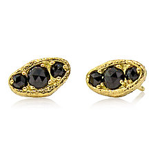 Puddle Stud Earrings with Three Black Diamonds by Rona Fisher (Gold & Stone Earrings)