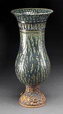 Blue Green Pedestal Vase by Daniel  Bennett (Ceramic Vase)