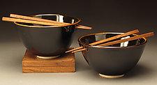Classic Black Rice Bowls with Chopsticks by Daniel  Bennett (Ceramic Bowls)