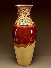 Red Cream Swirled Elliptical Vessel by Daniel  Bennett (Ceramic Vessel)