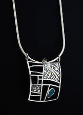 Gold and Silver Pendant with Zircon and Opal by Jan Van Diver (Gold, Silver, & Stone Necklace)