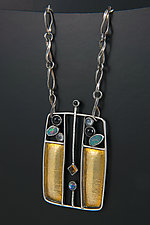 Austrian Homage Pendant and Custom Handmade Chain by Jan Van Diver (Gold, Silver & Stone Necklace)