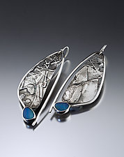 Fused Foliage Earrings with Opals by Jan Van Diver (Silver & Stone Earrings)