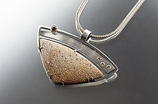 Palmwood and Gemstone Pendant by Jan Van Diver (Silver & Stone Necklace)