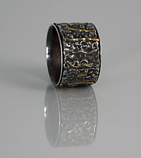 Bubbly Stripes Textural Ring by Jan Van Diver (Gold & Silver Ring)