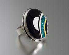 Oversized Cloisonne Enamel Ring by Jan Van Diver (Enameled Ring)