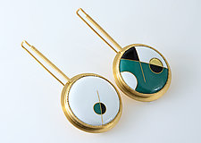 Abstract Cloisonne Enamel Earrings by Jan Van Diver (Enameled Earrings)