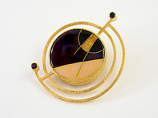 Convertible Double Orbit Enamel Pin/Pendant by Jan Van Diver (Enameled Brooch)