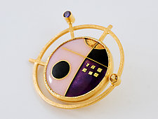 Cloisonne Enamel & Gemset Pin/Pendant by Jan Van Diver (Enameled Brooch)