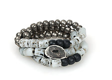 Wrap-Around Bracelet with Gray African Glass Beads by John Siever (Beaded Bracelet)